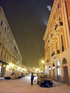 La neve in Piazza Prefettura a Campobasso
