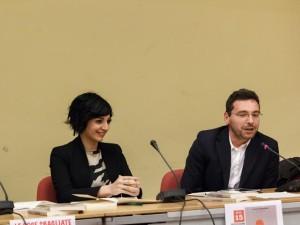 L'autore Aceto con la giornalista Cucaro durante la presentazione di Campobasso