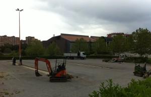 Il parcheggio dell'Università in via De Sanctis, dopo i lavori, privo di alberi
