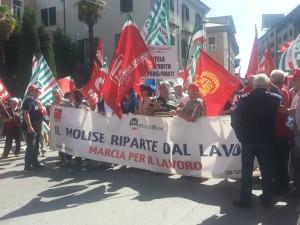 Il corteo della Marcia del Lavoro a Campobasso