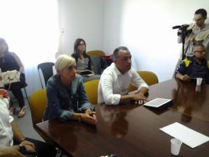 Il presidente della scuola calcio 'I Sanniti', Angela Baranello, e il responsabile del settore giovanile del Campobasso, Angelo Santoro