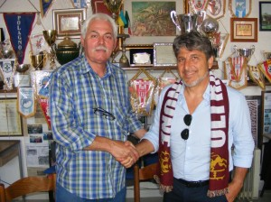 Il nuovo allenatore dell'Agnonese, Giuseppe Donatelli, con il presidente Antonio Melloni