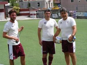 L'allenatore Donatelli con il preparatore atletico Dian e Orlando