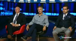 Gli ospiti della redazione di Campobasso: il sindaco del capoluogo Antonio Battista, l'arbitro di basket Luca Weidmann e il direttore responsabile Giuseppe Formato