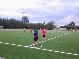 L'allenamento del giovedì del Campobasso: di spalle Miani e Di Gennaro che hanno lavorato a parte