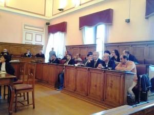 La maggioranza a Palazzo San Giorgio durante l'assise del 12 settembre 2014