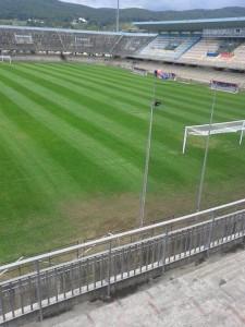 Il nuovo manto erboso dello stadio di contrada Selva Piana nella foto postata su facebook dal presidente Giulio Perrucci