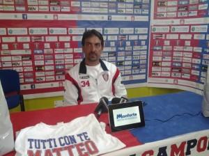Francesco Farina, l'allenatore del Campobasso, durante la conferenza stampa post-Chieti