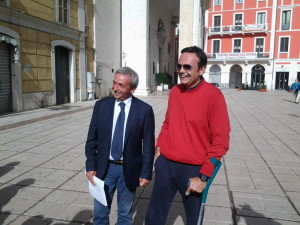 Il senatore Roberto Ruta e il Governatore Paolo Frattura durante la conferenza stampa
