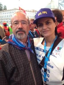 Tecla Boccardo con Carmelo Barbagallo, neo-segretario nazionale della Uil