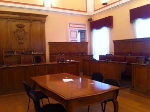 La sala consiliare di Palazzo San Giorgio
