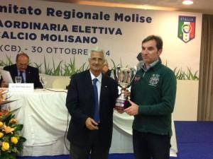 Il presidente Giulio Perrucci alla 'Festa del calcio molisano' (foto sito ufficiale Campobasso)