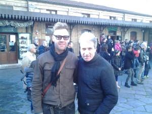 Marton Csokas in Piazzetta Palombo con il suocero, il professore Sergio Genovese, Dirigente scolastico ed ex preparatore atletico del Campobasso