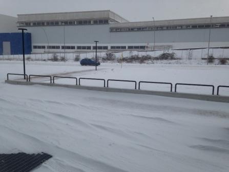 Campobasso, ore 13: questa la situazione neve in zona Decathlon, alle spalle del centro commerciale 'Monforte'