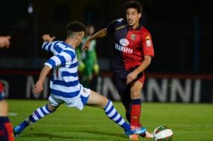 Kevin Magri in azione con la maglia rossoblù del Lumezzane