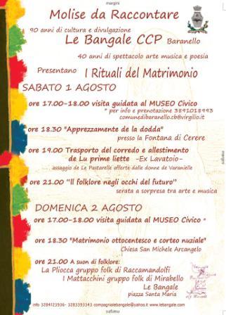 Photo of Sabato 1 e domenica  2 agosto a Baranello rivive la tradizione e la cultura popolare con 'I Rituali del Matrimonio'