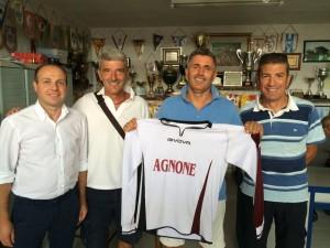 Il neo-trainer Paolucci con il vice Bucci, il ds D'Ottavio e Marinelli
