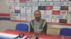 L'allenatore del Campobasso, Roberto Cappellacci, durante la conferenza stampa pre-partita