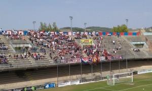I tifosi del Campobasso presenti in Curva Nord nella gara contro la Sambenedettese