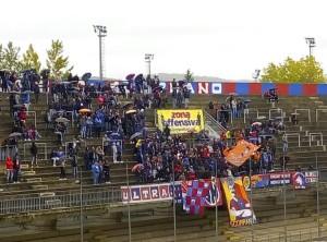 I tifosi in Curva Nord durante la partita tra il Campobasso e la Fermana