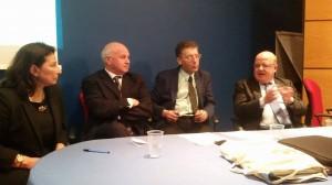 Il convegno sulla figura del giornalista Giancarlo Siani: da destra, Palmieri, Paci, Battista e de Capoa