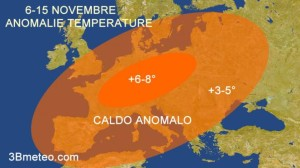 L'anticiclone arrivato sull'Europa (foto 3bmeteo.it)