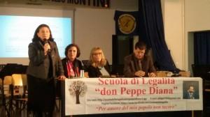 Simona Dalla Chiesa insieme all'assessore de Capoa, a Musacchio e ad Antonelli