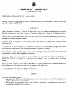 L'ordinanza del sindaco Battista (cliccare per ingrandire)