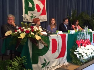 Il ministro Boschi al tavolo dei relatori con Frattura, Venittelli, Sbrocca e Fanelli