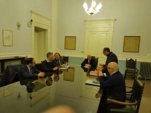 La conferenza stampa a Palazzo Magno con Battista e i consiglieri delegati
