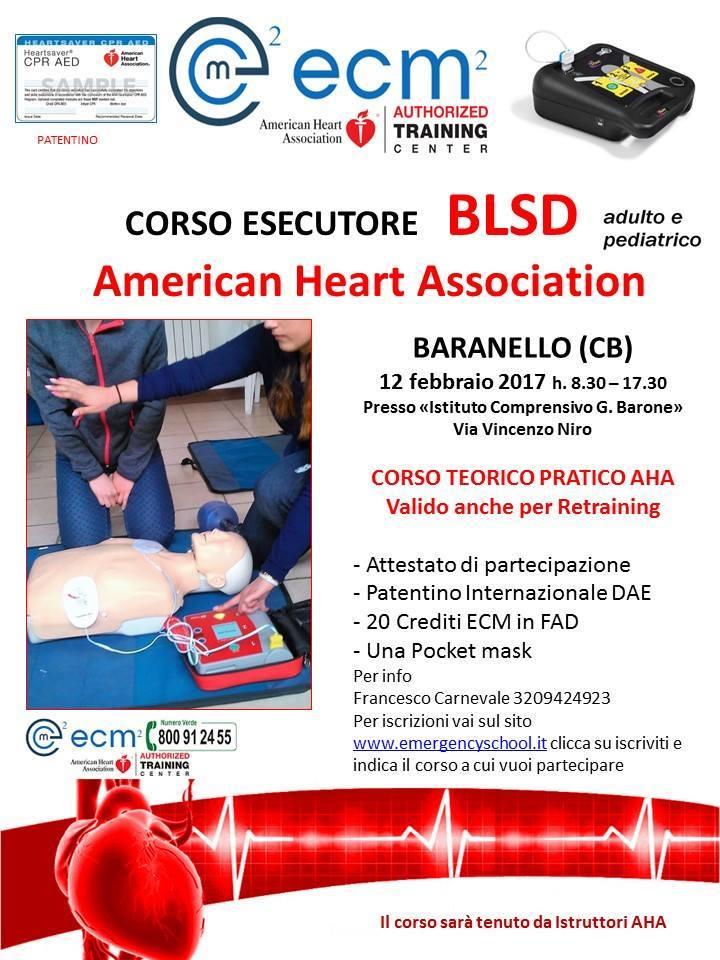 Photo of Manovre di primo intervento, prontezza in caso di emergenza, uso del defibrillatore: a Baranello, domenica 12 febbraio 'Corso BLSD' (linee guida AHA)