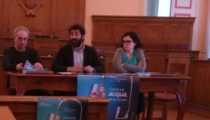 Un momento della conferenza stampa a Palazzo San Giorgio