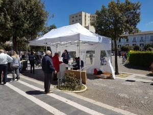 Il seggio allestito in Piazza Municipio a Campobasso
