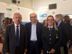 Il presidente Cotugno, il sindaco di Pozzallo e la responsabile del centro Hotspot