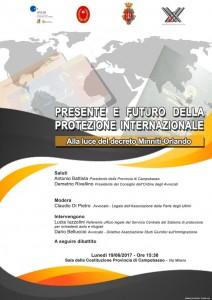 locandina incontro protezione internazionale