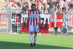 Kevin Magri con la maglia del Vicenza durante il match contro la Pro Piacenza