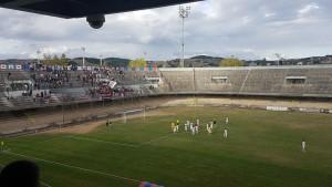 I giocatori del Campobasso ringraziano i tifosi sotto la Curva Nord