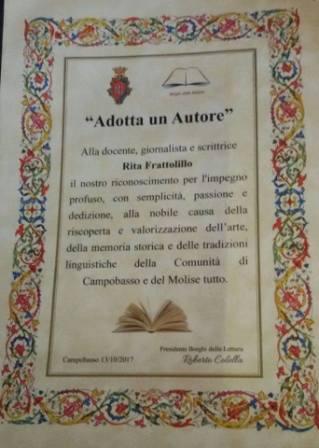 Attestato Adotta un Autore a Rita Frattolillo