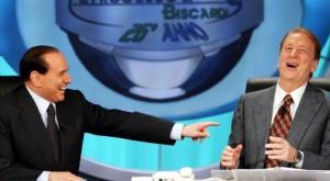 Biscardi durante il suo 'Processo' con ospite l'ex premier Berlusconi