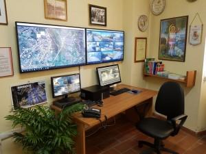La sala operativa del sistema di videosorveglianza a Riccia