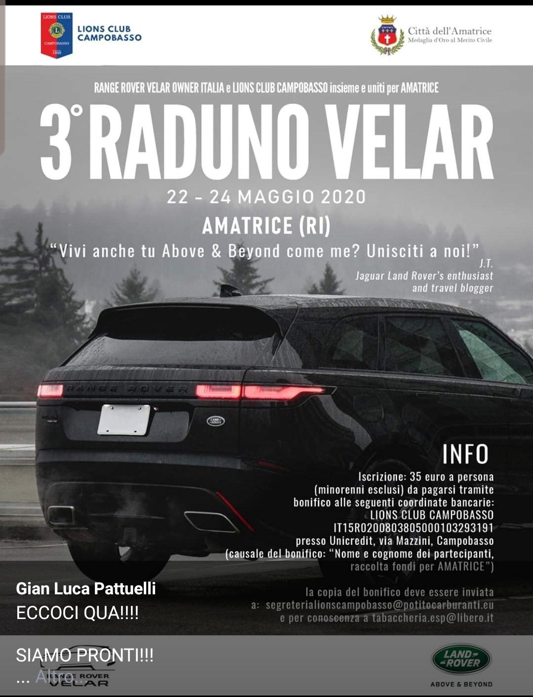 Il Lions Club Campobasso per Amatrice in un evento condiviso con i possessori della Range Rover Velar - CBlive - CBLive