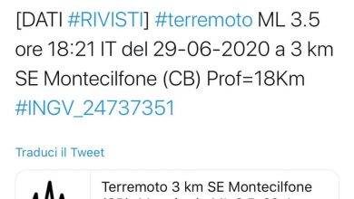 Photo of Montecilfone, a due anni dal sisma torna la paura: scossa di terremoto di 3,5